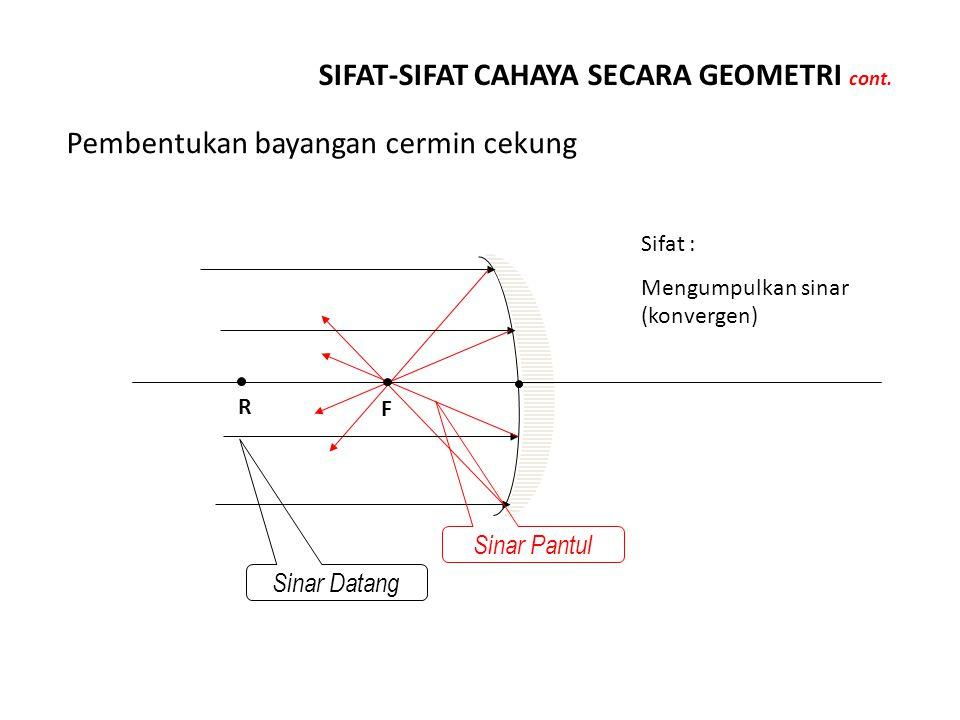 SIFAT-SIFAT CAHAYA SECARA GEOMETRI cont. Pembentukan bayangan cermin cekung R Sinar Datang F Sinar Pantul Sifat : Mengumpulkan sinar (konvergen)