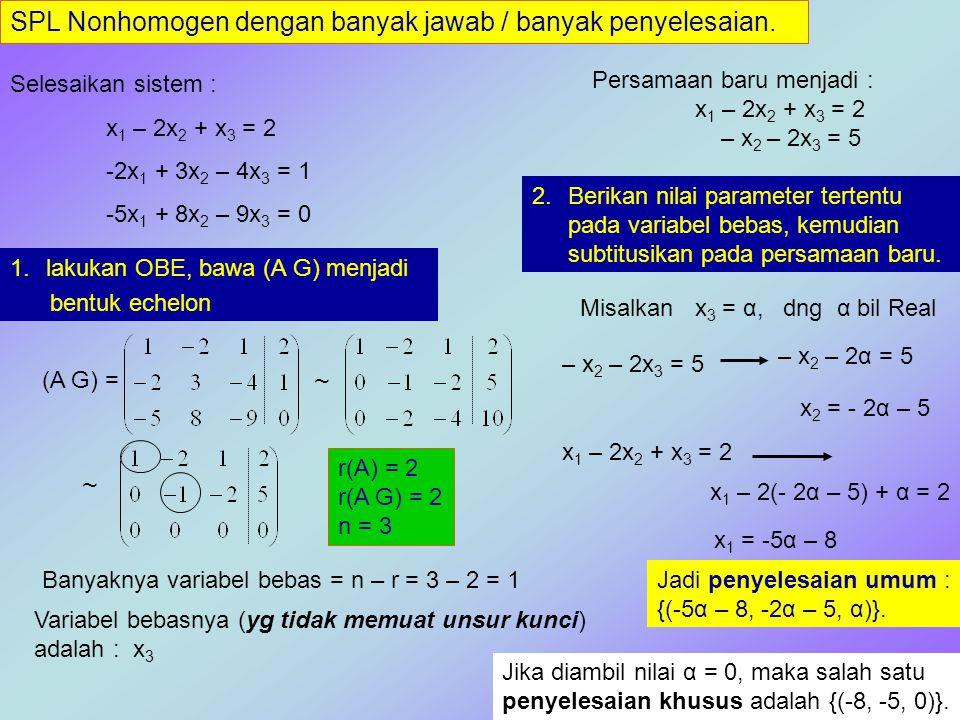 SPL Nonhomogen dengan banyak jawab / banyak penyelesaian. Selesaikan sistem : x 1 – 2x 2 + x 3 = 2 -2x 1 + 3x 2 – 4x 3 = 1 -5x 1 + 8x 2 – 9x 3 = 0 1.l