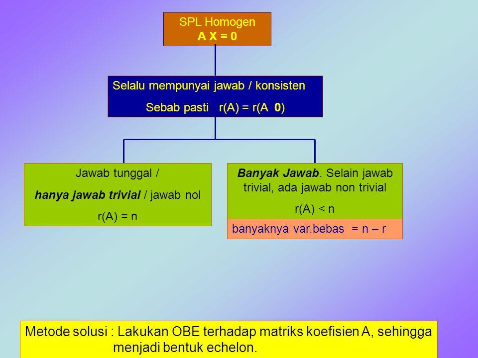 SPL Homogen A X = 0 Selalu mempunyai jawab / konsisten Sebab pasti r(A) = r(A 0) Jawab tunggal / hanya jawab trivial / jawab nol r(A) = n Banyak Jawab