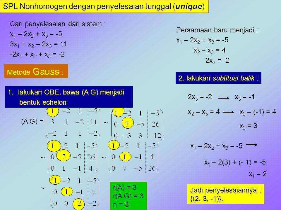SPL Nonhomogen dengan penyelesaian tunggal (unique) Cari penyelesaian dari sistem : x 1 – 2x 2 + x 3 = -5 3x 1 + x 2 – 2x 3 = 11 -2x 1 + x 2 + x 3 = -2 Metode Gauss-Jordan : lakukan OBE, bawa (A G) menjadi bentuk echelon baris tereduksi.