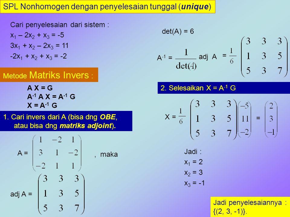 SPL Nonhomogen dengan penyelesaian tunggal (unique) Cari penyelesaian dari sistem : x 1 – 2x 2 + x 3 = -5 3x 1 + x 2 – 2x 3 = 11 -2x 1 + x 2 + x 3 = -2 Metode Cramer : 1.Cari det(A), dan det(A i ), yaitu determinan dr A dng terlebih dahulu mengganti kolom ke i dengan matriks konstanta G Jadi penyelesaiannya : {(2, 3, -1)}.