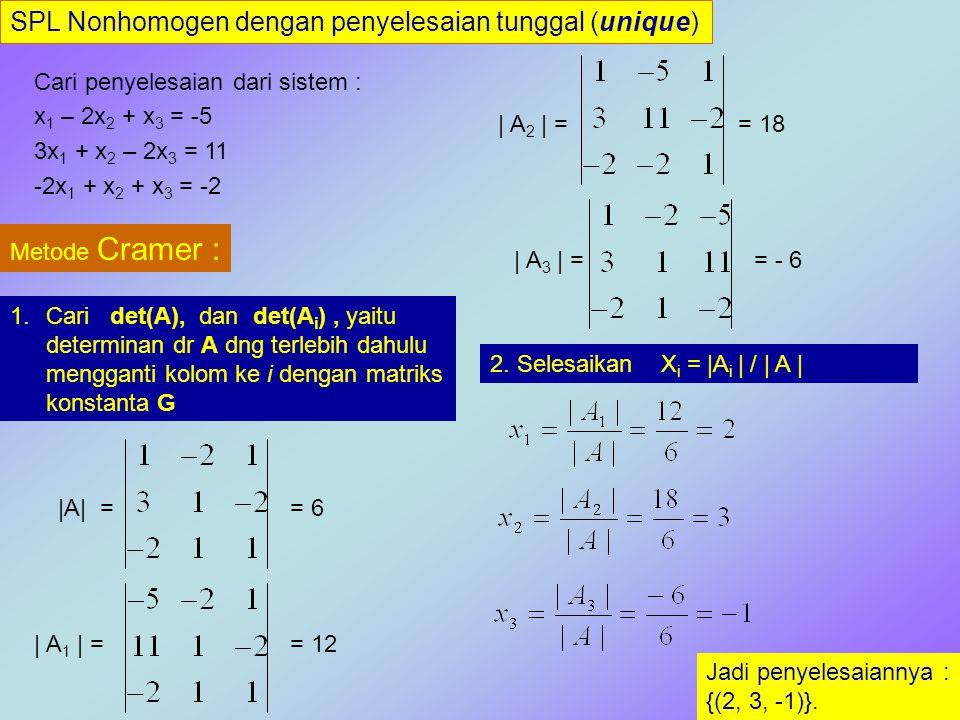 SPL Nonhomogen dengan penyelesaian tunggal (unique) Cari penyelesaian dari sistem : x 1 – 2x 2 + x 3 = -5 3x 1 + x 2 – 2x 3 = 11 -2x 1 + x 2 + x 3 = -