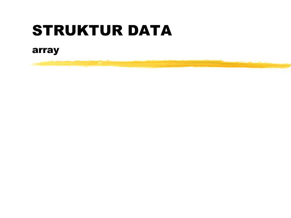 Definisi Array Array adalah suatu tipe data terstuktur yang berupa sejumlah data sejenis (bertipe data sama) yang jumlahnya tetap dan diberi suatu nama tertentu.