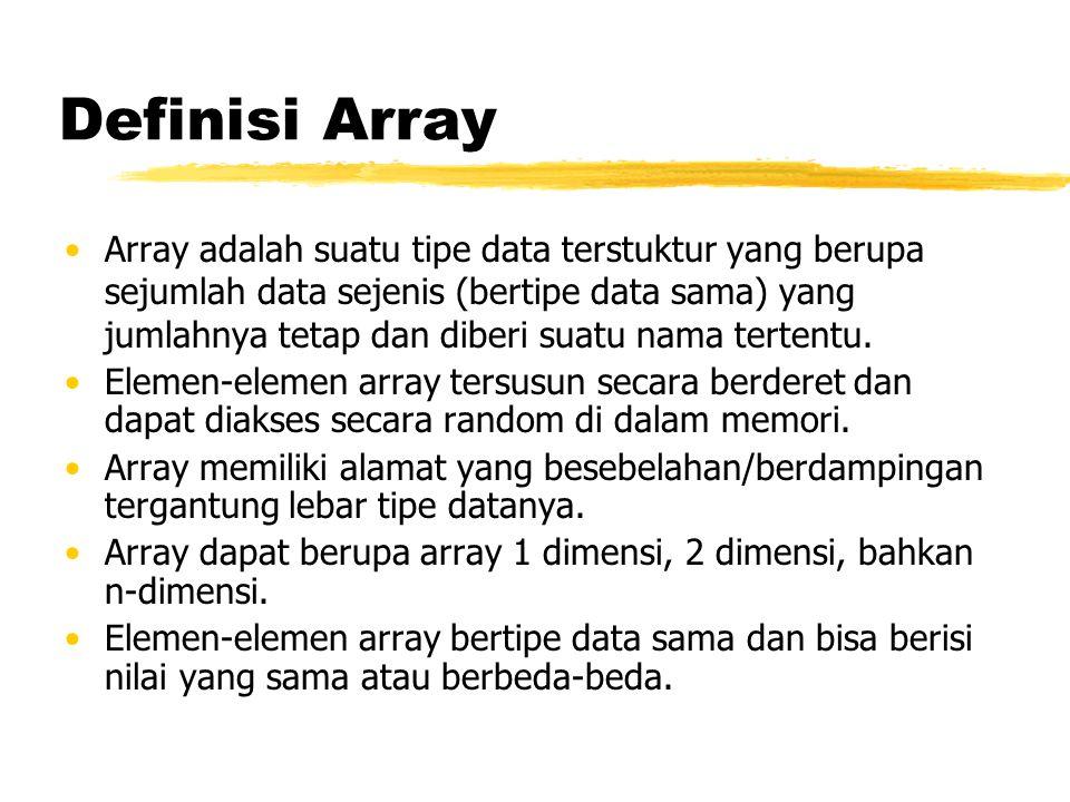 Definisi Array Array adalah suatu tipe data terstuktur yang berupa sejumlah data sejenis (bertipe data sama) yang jumlahnya tetap dan diberi suatu nam