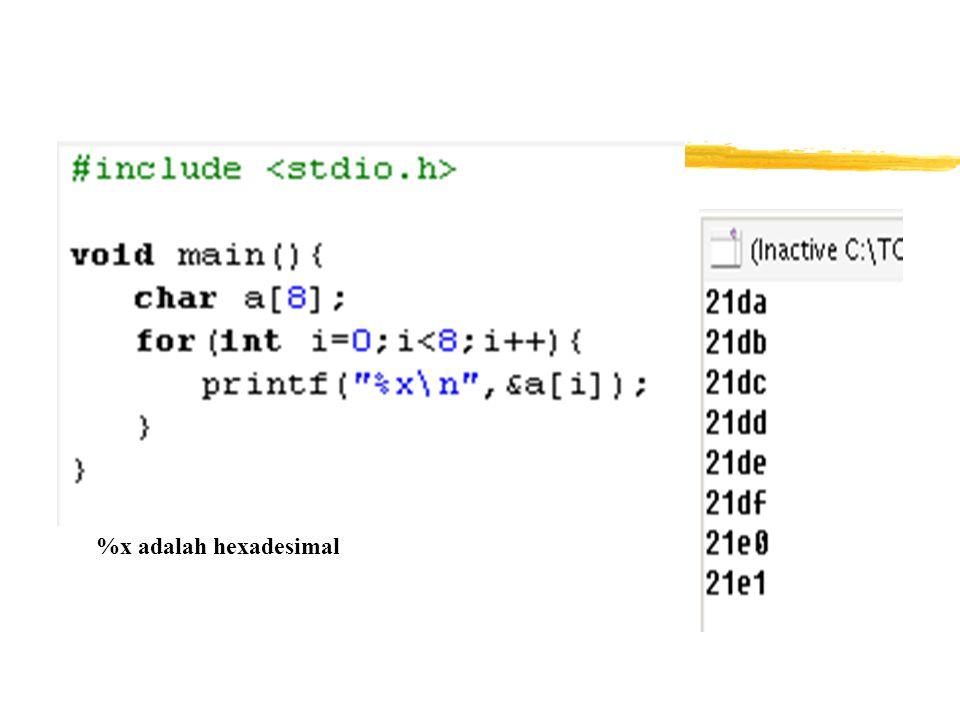 Ilustrasi Array 1 Dimensi int 0 1 2 3 4 5 6 7 21d2 21d4 21d6 21d8 21da 21dc 21de 21e0 indeks value alamat %x adalah hexadesimal