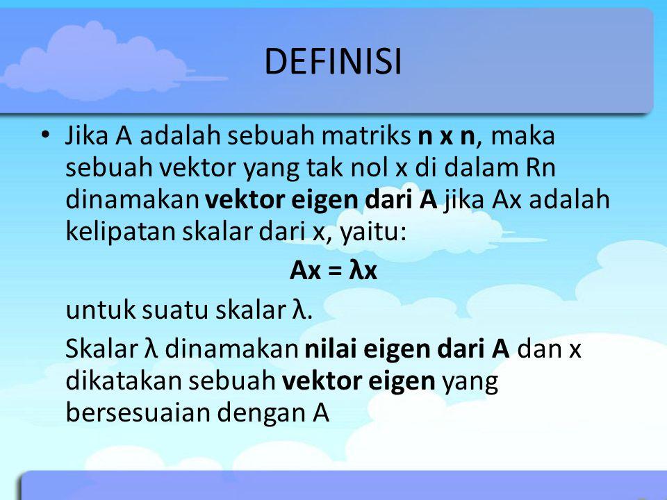 DEFINISI Jika A adalah sebuah matriks n x n, maka sebuah vektor yang tak nol x di dalam Rn dinamakan vektor eigen dari A jika Ax adalah kelipatan skal