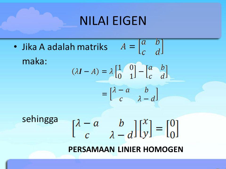 NILAI EIGEN Menurut definisi, vektor eigen adalah vektor tak nol Sehingga agar (x,y) memiliki solusi, maka det(λI-A) = 0  persamaan karakteristik