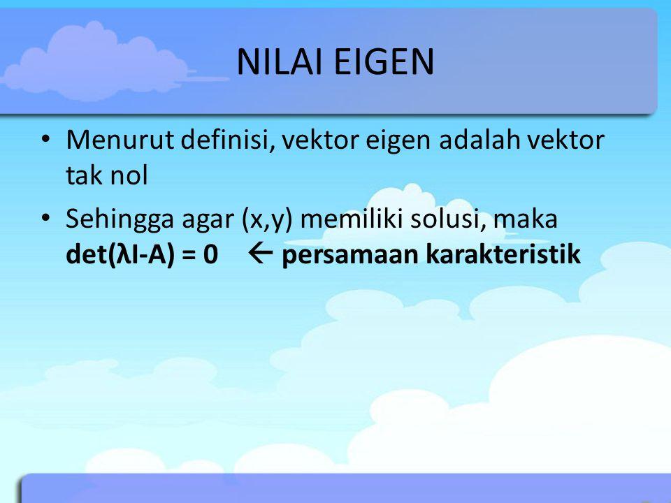 CONTOH I Carilah nilai eigen dari Gunakan persamaan karakteristik!