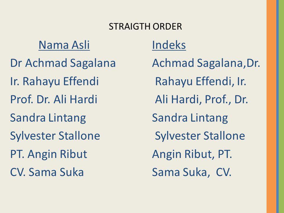 STRAIGTH ORDER Nama AsliIndeks Dr Achmad Sagalana Achmad Sagalana,Dr. Ir. Rahayu Effendi Rahayu Effendi, Ir. Prof. Dr. Ali Hardi Ali Hardi, Prof., Dr.