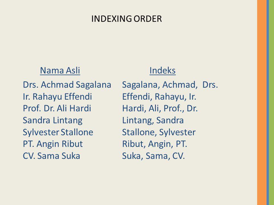 INDEXING ORDER Nama AsliIndeks Drs. Achmad SagalanaSagalana, Achmad, Drs. Ir. Rahayu EffendiEffendi, Rahayu, Ir. Prof. Dr. Ali HardiHardi, Ali, Prof.,