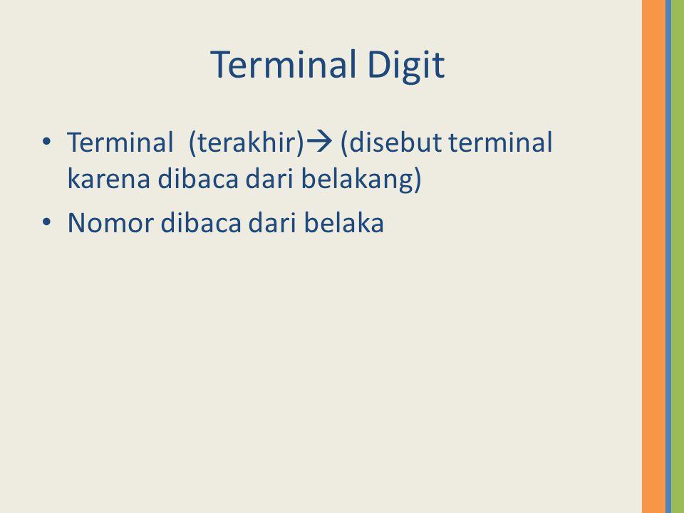 Terminal Digit Terminal (terakhir)  (disebut terminal karena dibaca dari belakang) Nomor dibaca dari belaka