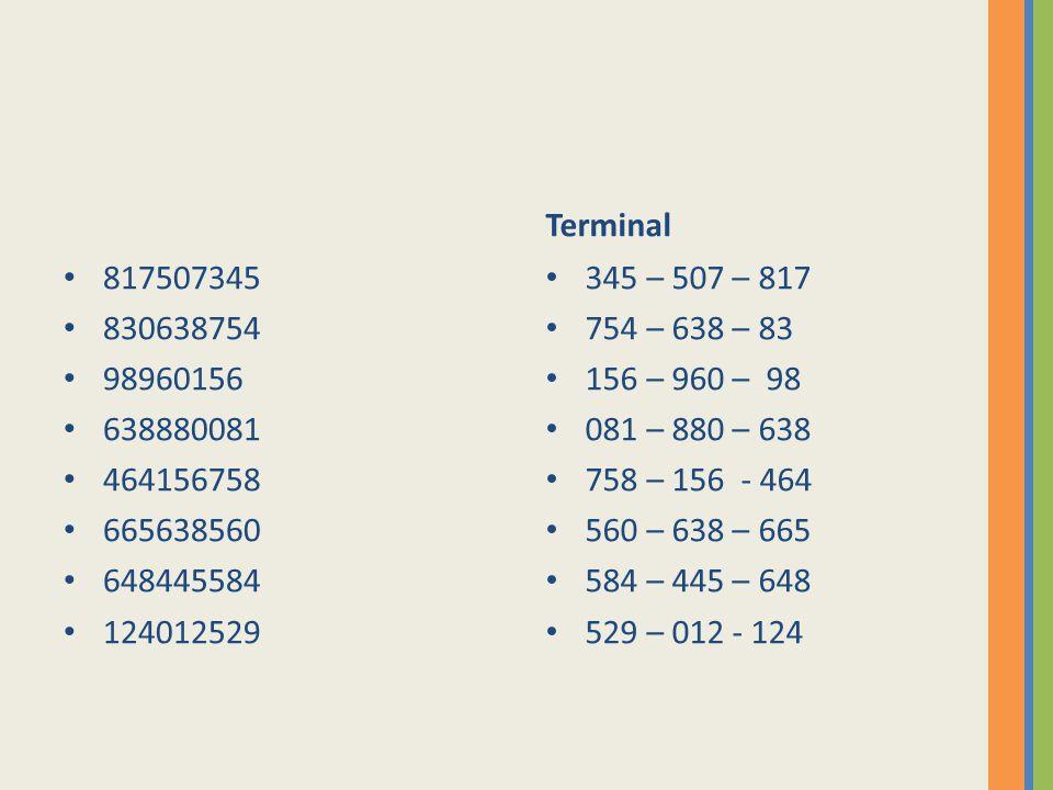 817507345 830638754 98960156 638880081 464156758 665638560 648445584 124012529 Terminal 345 – 507 – 817 754 – 638 – 83 156 – 960 – 98 081 – 880 – 638 758 – 156 - 464 560 – 638 – 665 584 – 445 – 648 529 – 012 - 124