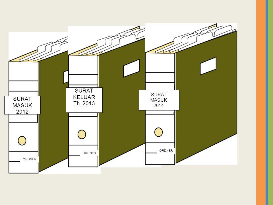 ORDNER SURAT MASUK 2012 ORDNER SURAT KELUAR Th. 2013 ORDNER SURAT MASUK 2014
