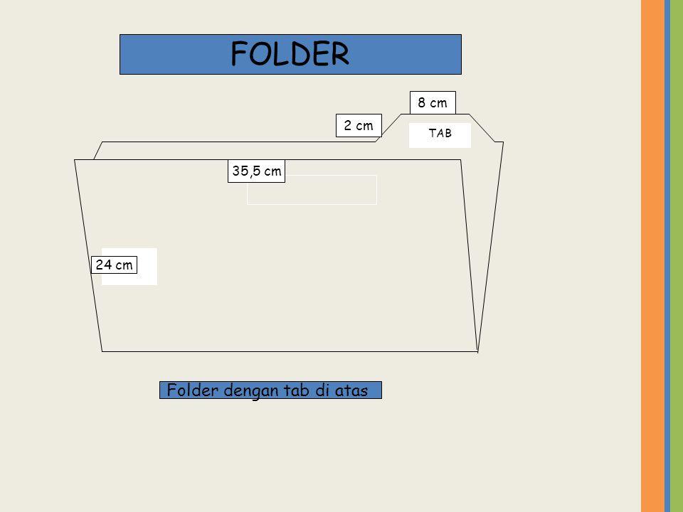 TAB FOLDER 35,5 cm 24 cm 2 cm 8 cm Folder dengan tab di atas