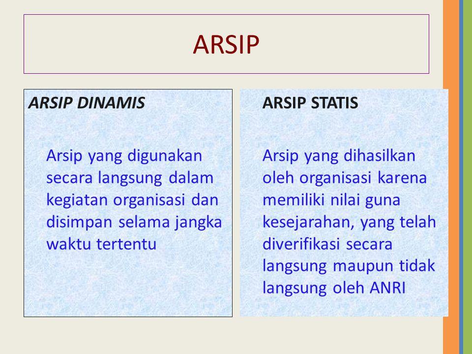ARSIP ARSIP DINAMIS Arsip yang digunakan secara langsung dalam kegiatan organisasi dan disimpan selama jangka waktu tertentu ARSIP STATIS Arsip yang dihasilkan oleh organisasi karena memiliki nilai guna kesejarahan, yang telah diverifikasi secara langsung maupun tidak langsung oleh ANRI