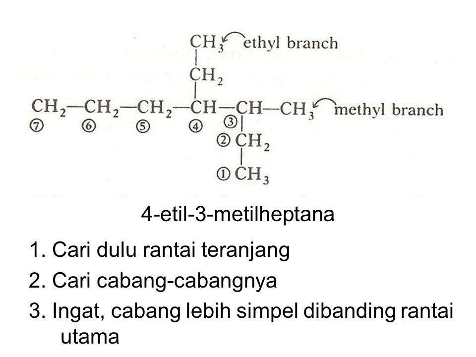 4-etil-3-metilheptana 1. Cari dulu rantai teranjang 2. Cari cabang-cabangnya 3. Ingat, cabang lebih simpel dibanding rantai utama