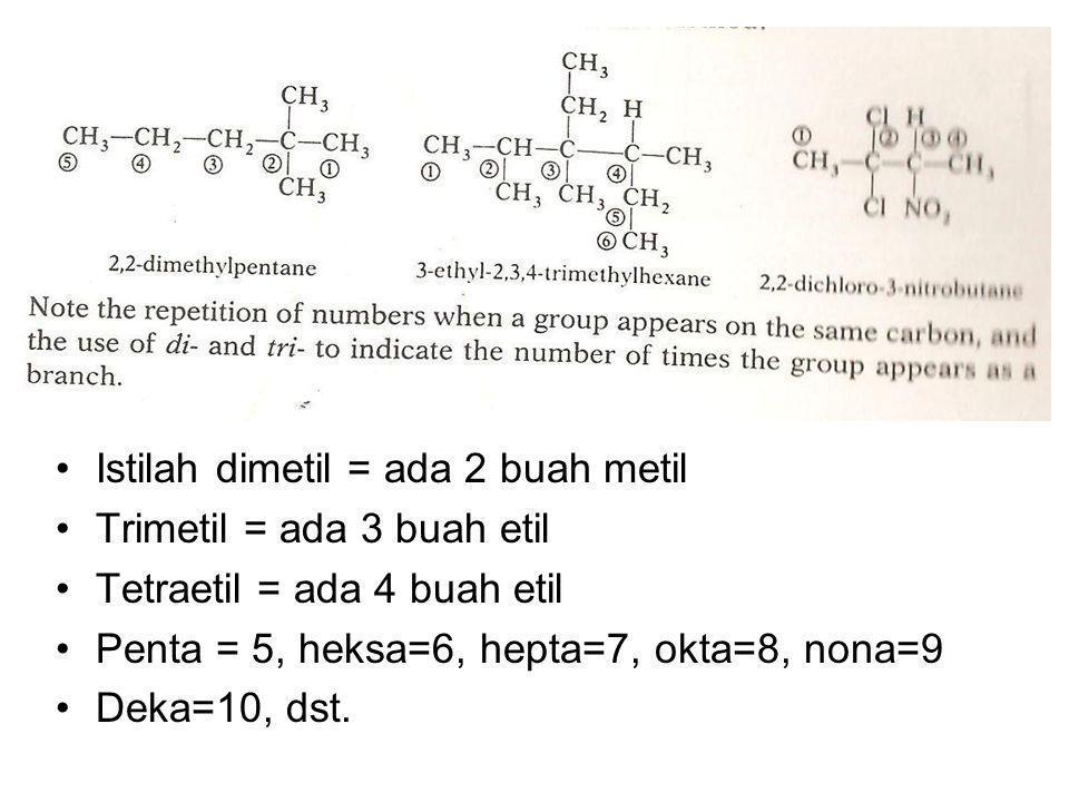 Istilah dimetil = ada 2 buah metil Trimetil = ada 3 buah etil Tetraetil = ada 4 buah etil Penta = 5, heksa=6, hepta=7, okta=8, nona=9 Deka=10, dst.