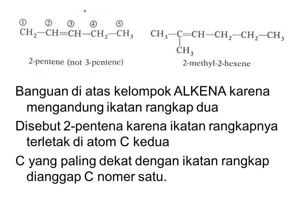 Banguan di atas kelompok ALKENA karena mengandung ikatan rangkap dua Disebut 2-pentena karena ikatan rangkapnya terletak di atom C kedua C yang paling