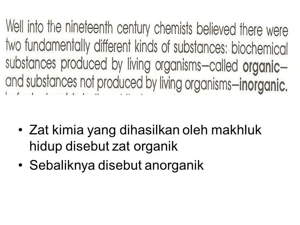 Zat kimia yang dihasilkan oleh makhluk hidup disebut zat organik Sebaliknya disebut anorganik