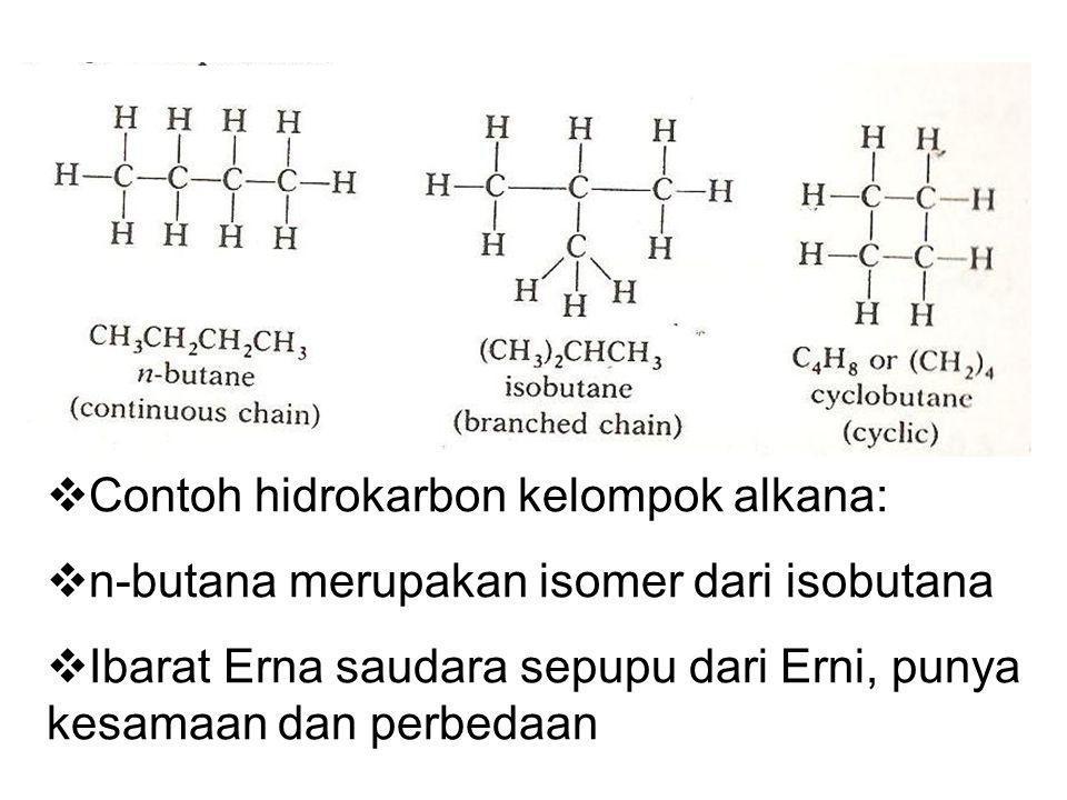  Contoh hidrokarbon kelompok alkana:  n-butana merupakan isomer dari isobutana  Ibarat Erna saudara sepupu dari Erni, punya kesamaan dan perbedaan