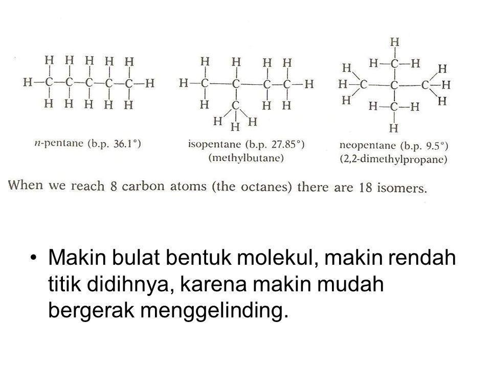 Makin bulat bentuk molekul, makin rendah titik didihnya, karena makin mudah bergerak menggelinding.