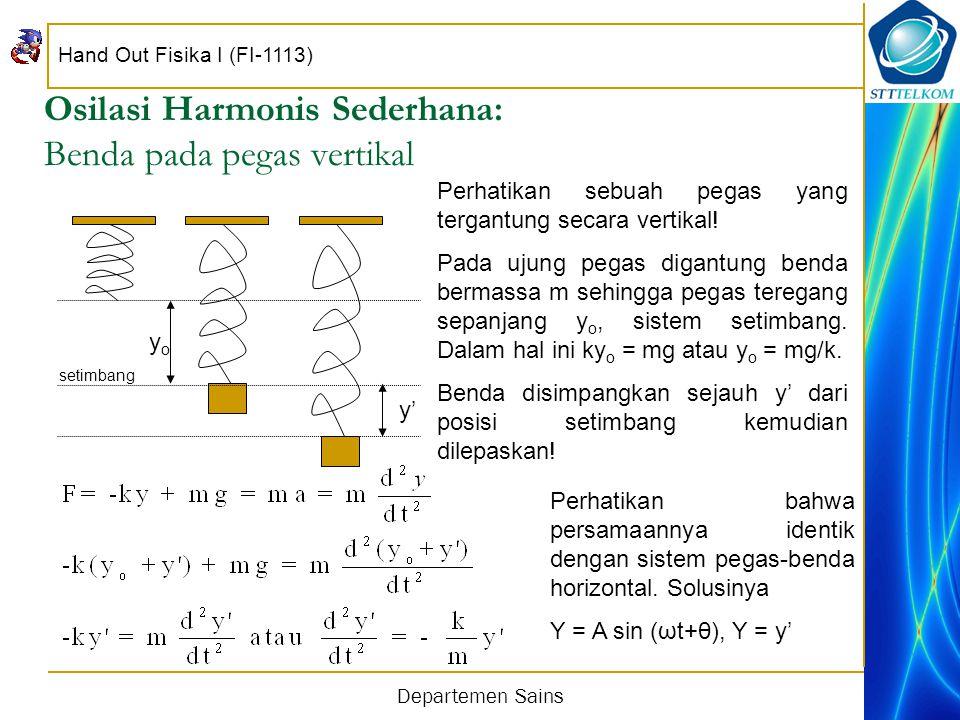 Hand Out Fisika I (FI-1113) Departemen Sains Osilasi Harmonis Sederhana: Benda pada pegas vertikal yoyo Perhatikan sebuah pegas yang tergantung secara