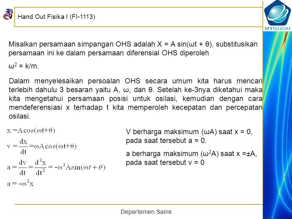 Hand Out Fisika I (FI-1113) Departemen Sains Misalkan persamaan simpangan OHS adalah X = A sin(ωt + θ), substitusikan persamaan ini ke dalam persamaan