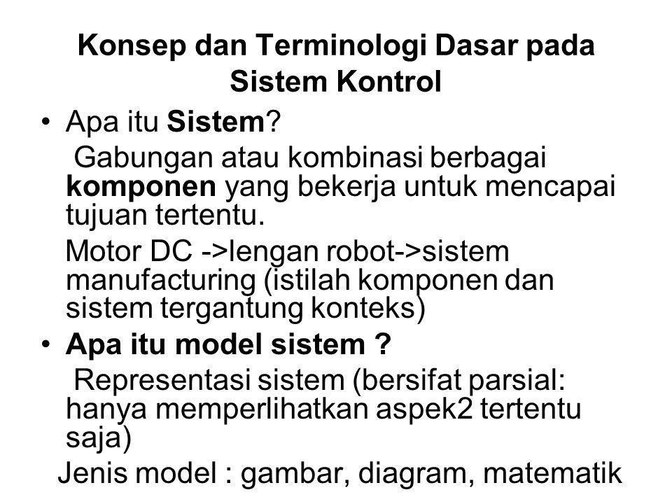 Langkah awal Perancangan Sistem Kontrol Dapatkan Model Matematis Sistem-Plant- proses -> hubungan input –output proses/plant : -Dengan menggunakan hukum2 Fisika dan Kimia - Secara empiris/ percobaan