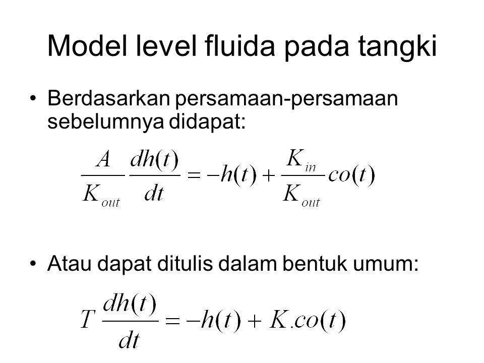 Model level fluida pada tangki Berdasarkan persamaan-persamaan sebelumnya didapat: Atau dapat ditulis dalam bentuk umum: