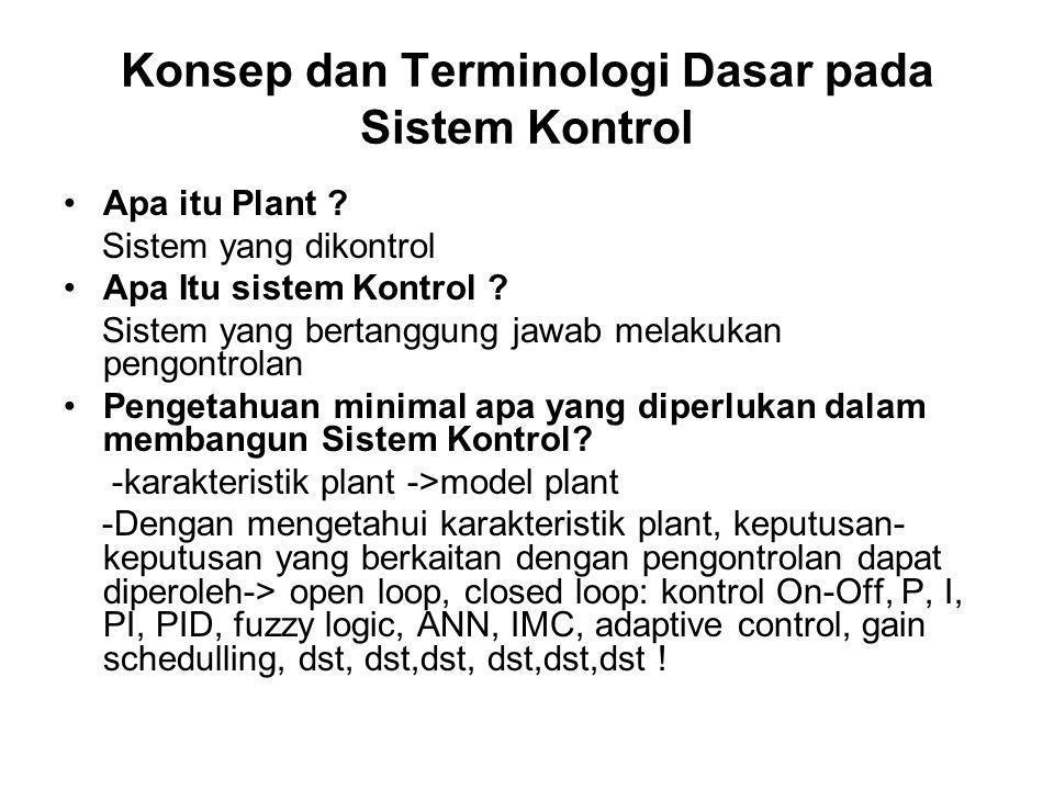 Konsep dan Terminologi Dasar pada Sistem Kontrol Apa itu Plant ? Sistem yang dikontrol Apa Itu sistem Kontrol ? Sistem yang bertanggung jawab melakuka