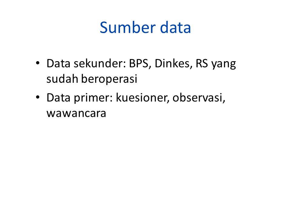 Sumber data Data sekunder: BPS, Dinkes, RS yang sudah beroperasi Data primer: kuesioner, observasi, wawancara