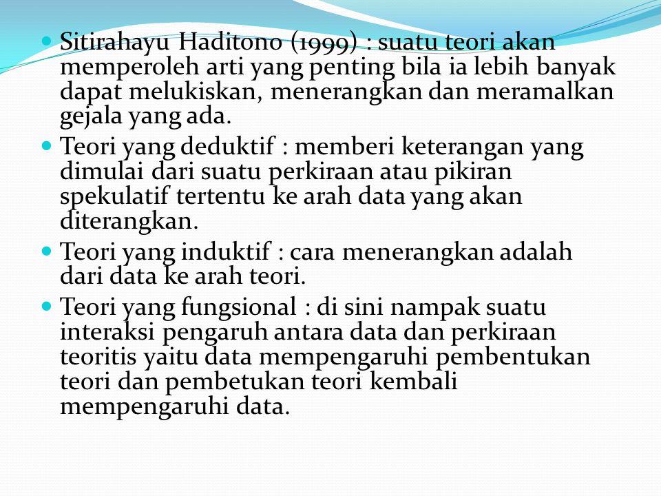 Sitirahayu Haditono (1999) : suatu teori akan memperoleh arti yang penting bila ia lebih banyak dapat melukiskan, menerangkan dan meramalkan gejala ya
