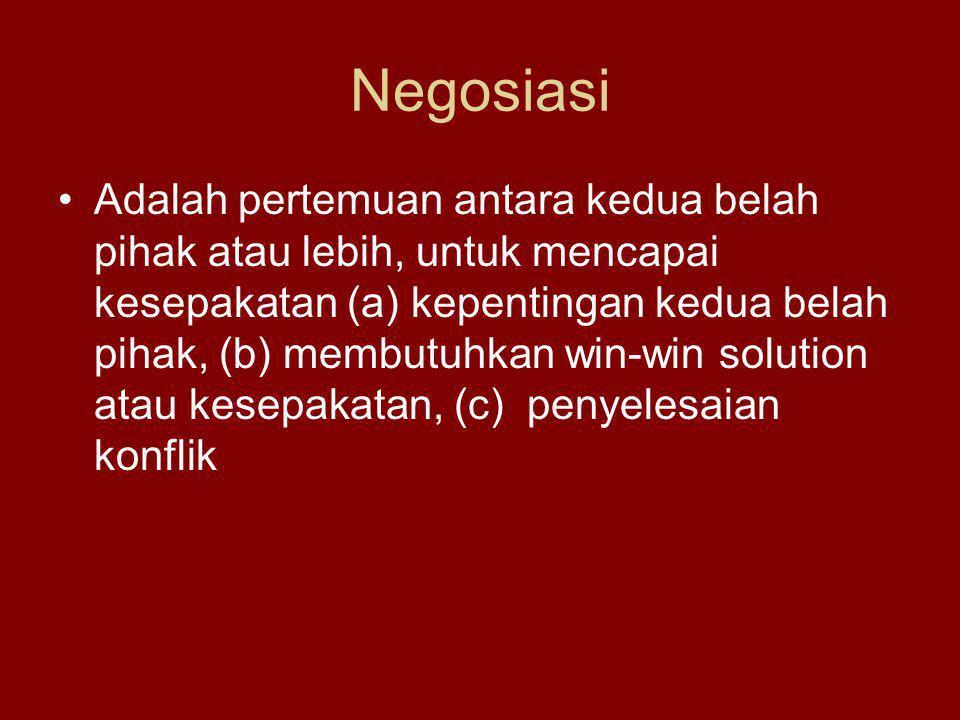 Negosiasi Adalah pertemuan antara kedua belah pihak atau lebih, untuk mencapai kesepakatan (a) kepentingan kedua belah pihak, (b) membutuhkan win-win solution atau kesepakatan, (c) penyelesaian konflik