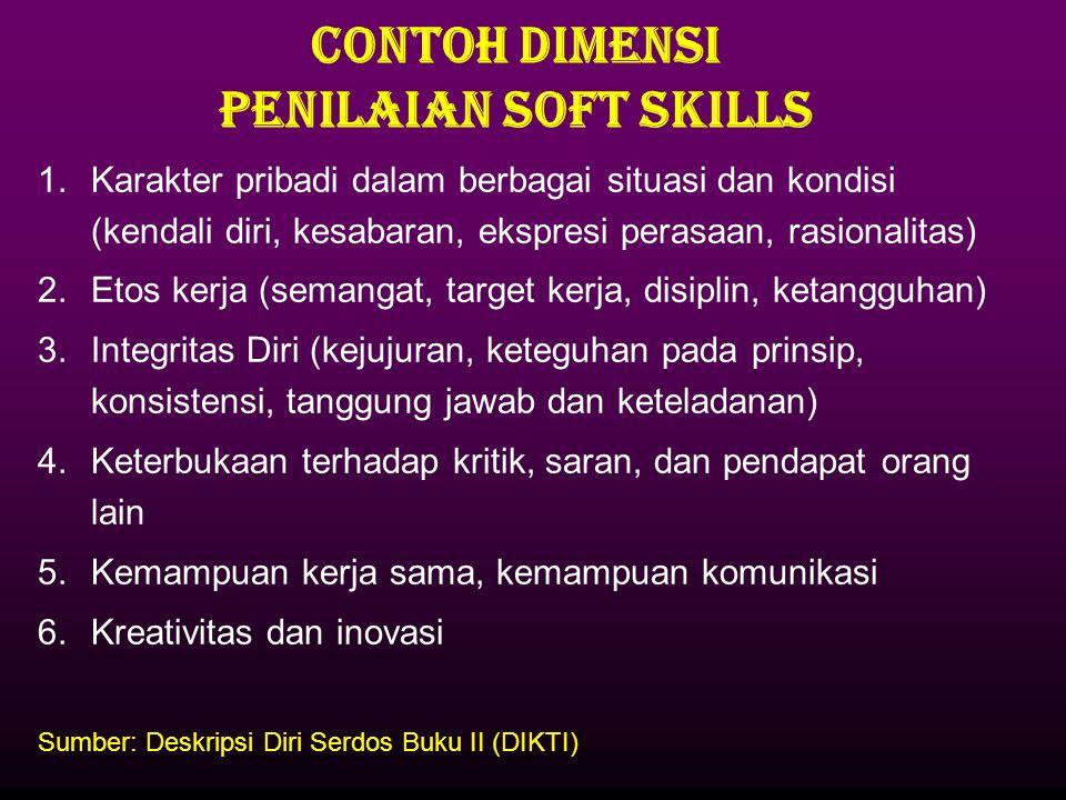 CONTOH DIMENSI PENILAIAN SOFT SKILLS 1.Karakter pribadi dalam berbagai situasi dan kondisi (kendali diri, kesabaran, ekspresi perasaan, rasionalitas)