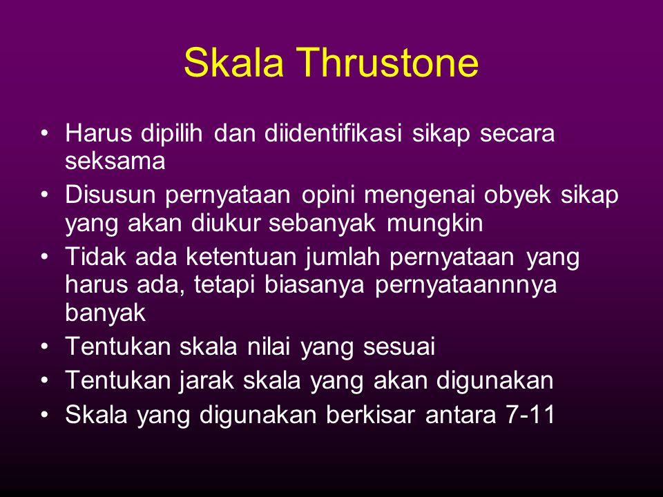 Skala Thrustone Harus dipilih dan diidentifikasi sikap secara seksama Disusun pernyataan opini mengenai obyek sikap yang akan diukur sebanyak mungkin
