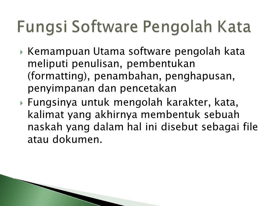 Perangkat Lunak Word Processor (selanjutnya disebut pengolah kata) adalah suatu program pengolah dokumen berisi teks dan gambar yang memiliki banyak k