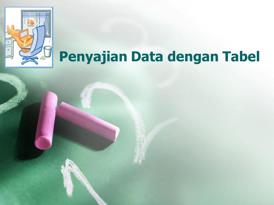 Menyajikan statistik menurut group sesuai keperluan penelitian Tampilan tabel jelas dan ringkas Kunci dalam membuat Tabel Tabel harus memberikan informasi yang dapat dimengerti oleh pembaca