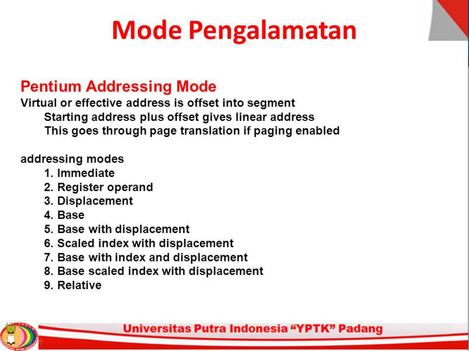 Mode Pengalamatan Pentium Addressing Mode Virtual or effective address is offset into segment Starting address plus offset gives linear address This g