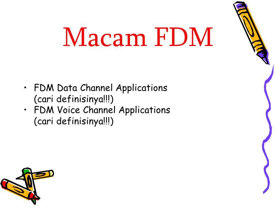 Macam FDM FDM Data Channel Applications (cari definisinya!!!) FDM Voice Channel Applications (cari definisinya!!!)