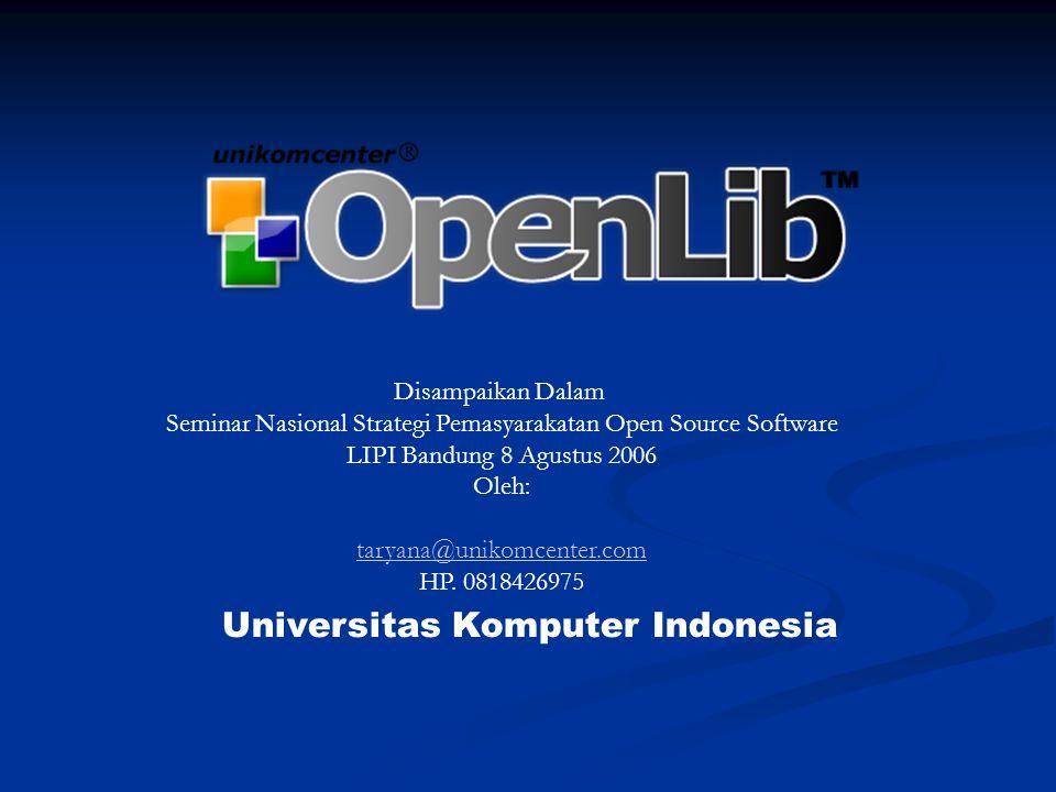 OpenLib™ adalah sebuah Sistem Informasi dan Aplikasi Administrasi Perpustakaan berbasis Web, dengan fungsi utama untuk menunjang proses kegiatan perpustakaan, mulai dari pengolahan data, transaksi peminjaman, statistik, sampai fungsi share data.