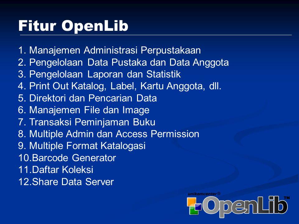 Download aplikasi openlib.rar, openlib.zip atau openlib.exe di alamat http://www.unikomcenter.com/openlib/http://www.unikomcenter.com/openlib/ Extract file tersebut dan simpan di folder /var/www/ jika anda menggunakan server berbasis Linux Atau simpan di folder c:\apache\htdocs\ jika menggunakan windows Lakukan perubahan pada file konfigurasi yang ada di file konfigurasi.php, yaitu userid dan password untuk database Instalasi