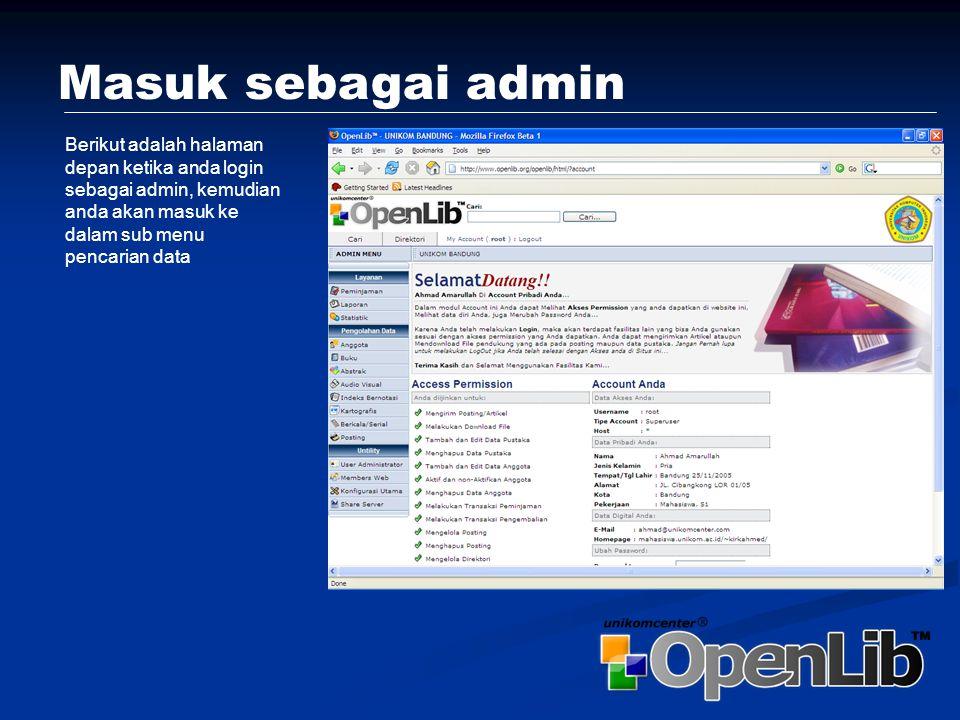 Utility User Admin Menu ini berguna untuk Melakukan Share metadata dengan server lainnya