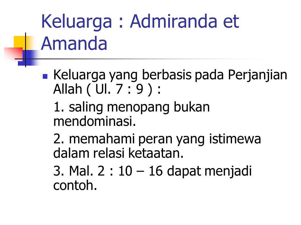 Keluarga : Admiranda et Amanda Keluarga yang berbasis pada Perjanjian Allah ( Ul. 7 : 9 ) : 1. saling menopang bukan mendominasi. 2. memahami peran ya