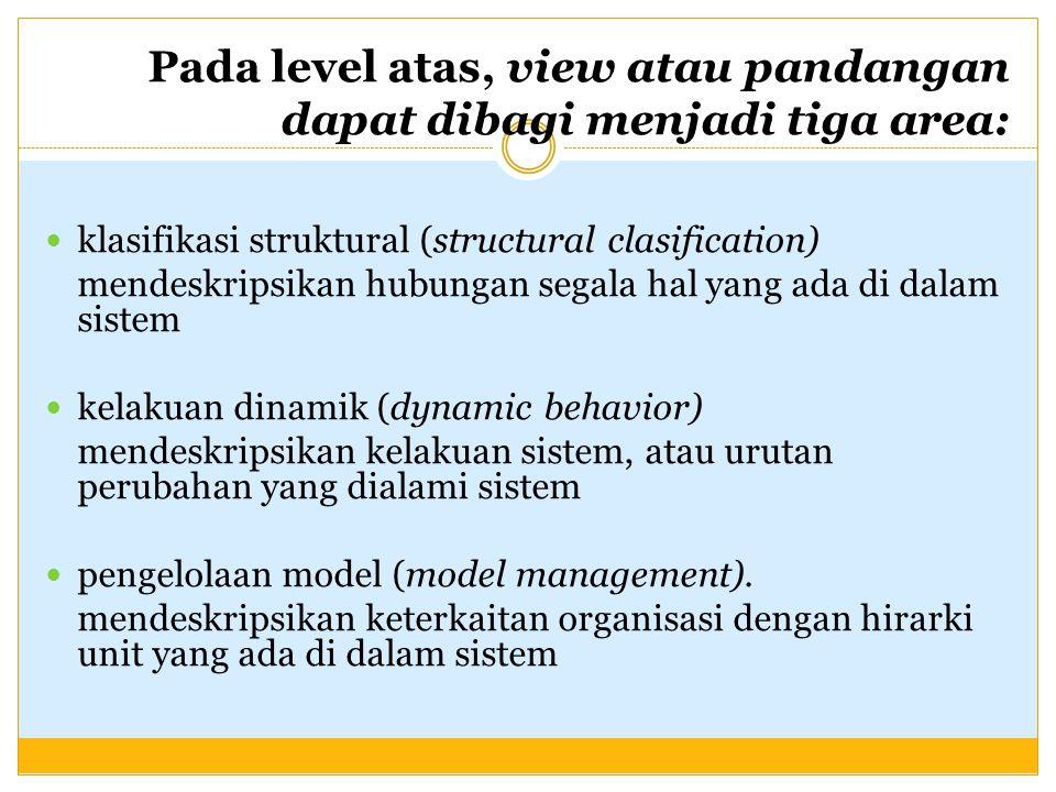Pada level atas, view atau pandangan dapat dibagi menjadi tiga area: klasifikasi struktural (structural clasification) mendeskripsikan hubungan segala hal yang ada di dalam sistem kelakuan dinamik (dynamic behavior) mendeskripsikan kelakuan sistem, atau urutan perubahan yang dialami sistem pengelolaan model (model management).