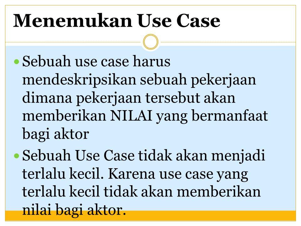 Menemukan Use Case Sebuah use case harus mendeskripsikan sebuah pekerjaan dimana pekerjaan tersebut akan memberikan NILAI yang bermanfaat bagi aktor S