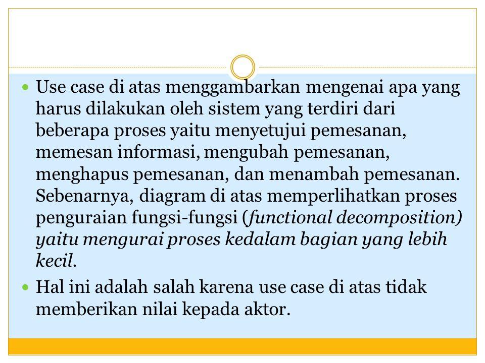 Use case di atas menggambarkan mengenai apa yang harus dilakukan oleh sistem yang terdiri dari beberapa proses yaitu menyetujui pemesanan, memesan inf