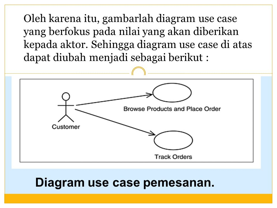 Oleh karena itu, gambarlah diagram use case yang berfokus pada nilai yang akan diberikan kepada aktor. Sehingga diagram use case di atas dapat diubah