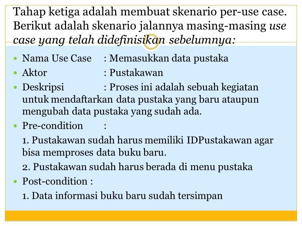 Tahap ketiga adalah membuat skenario per-use case. Berikut adalah skenario jalannya masing-masing use case yang telah didefinisikan sebelumnya: Nama U