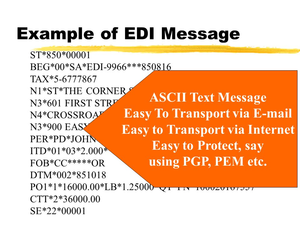 Example of EDI Message ST*850*00001 BEG*00*SA*EDI-9966***850816 TAX*5-6777867 N1*ST*THE CORNER STORE*09*0799332120001 N3*601 FIRST STREET N4*CROSSROADS*NY*10016 N3*900 EASY STREET PER*PD*JOHN JONES**TE*415-744-8666 ITD*01*03*2.000***10**30 FOB*CC*****OR DTM*002*851018 PO1*1*16000.00*LB*1.25000*QT*PN*100020167557 CTT*2*36000.00 SE*22*00001