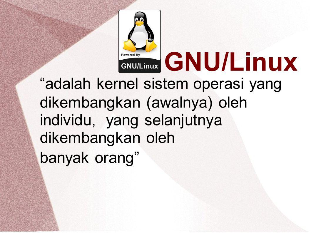 GNU/Linux adalah kernel sistem operasi yang dikembangkan (awalnya) oleh individu, yang selanjutnya dikembangkan oleh banyak orang